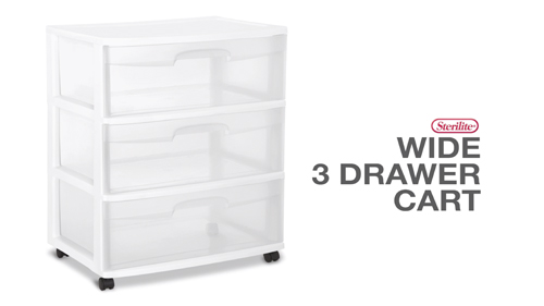Wide 3 Drawer Cart