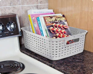 weave baskets are ideal for containing clutter on countertops bookshelves entertainment centers and pantry shelves - Baskets For Bookshelves