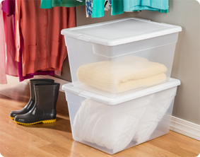 The 56 Quart Storage Box Is Great For Storing Blankets, Pillows And Towels.