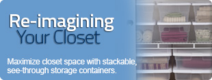 Maximize closet space with plastic storage containers