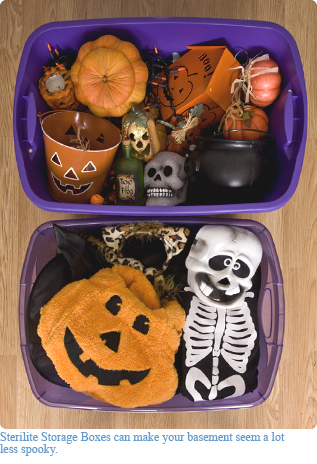 Sterilite Halloween storage boxes
