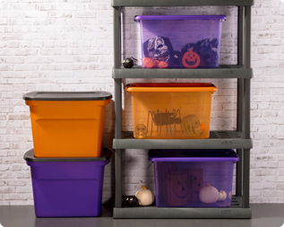Exceptionnel Seasonally Appropriate Orange And Purple Colors Make It Easy To Identify  Your Halloween Items In Storage.