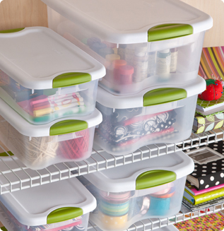 Organizing a craft room closet can be simplified with the use of various sized Latching Storge Boxes to store yarn sewing supplies and more.  sc 1 st  Sterilite & Clear the Clutter and Make Space to Create - Sterilite Corporation