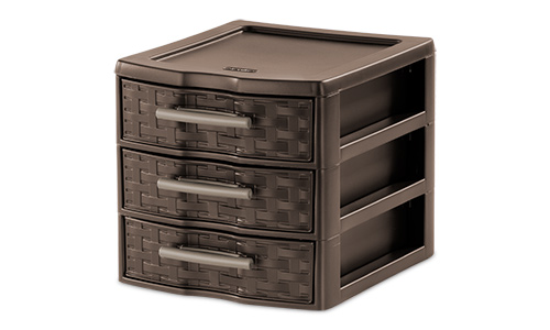 2273 - Small Weave 3 Drawer Unit