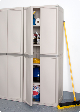 Get Your Garage Into Shape Sterilite, Sterilite Storage Cabinets With Doors And Shelves