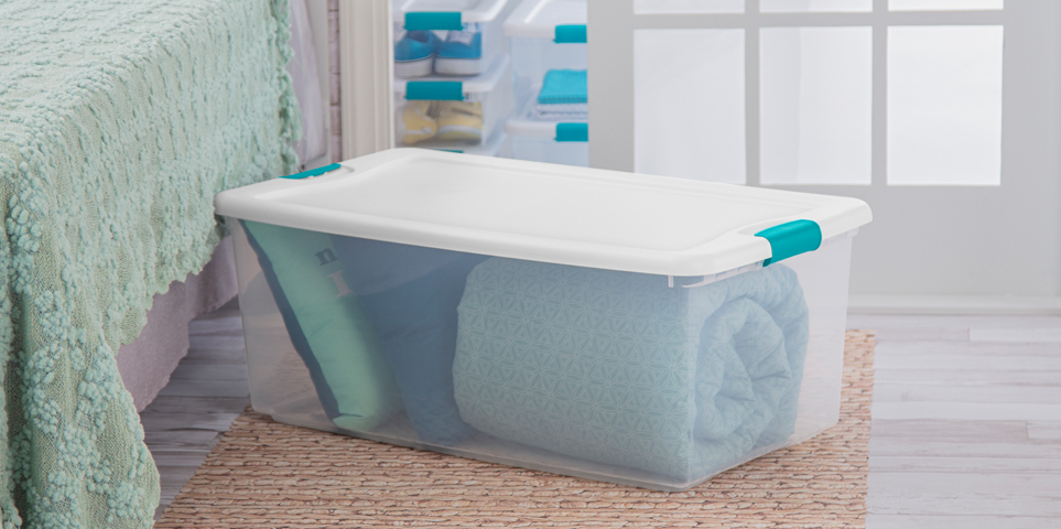 Sterilite latching box in bedroom scene